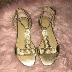 Marc Fisher gold with pearls sandals.